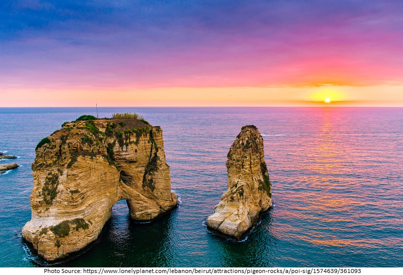 tourist attractions in Raouche Pigeon Rocks